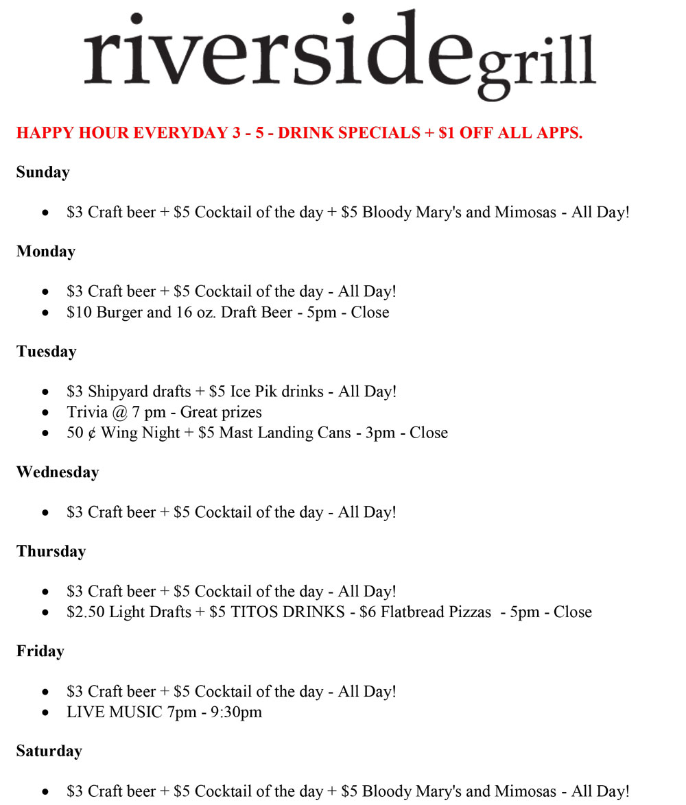 Riverside Grill Specials Summer 2017