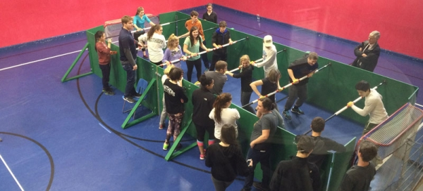 Human Foosball Arena set up at NYA Leadership Event